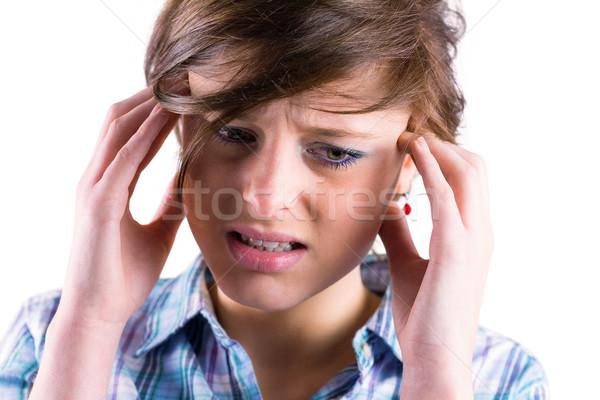 Dość brunetka głowy ręce głowie biały Zdjęcia stock © wavebreak_media