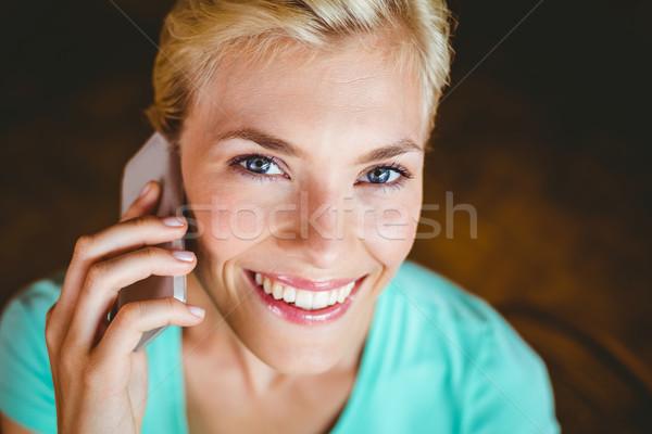 Güzel sarışın kadın kafe mutlu çalışma Stok fotoğraf © wavebreak_media