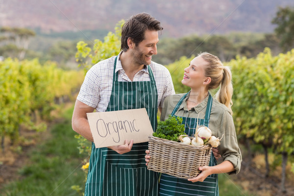Two young happy farmers holding a sign and a basket of vegetable Stock photo © wavebreak_media