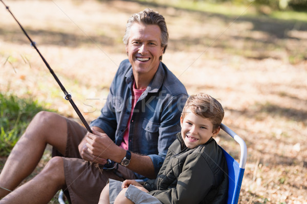 Wesoły syn ojca połowów portret człowiek Zdjęcia stock © wavebreak_media