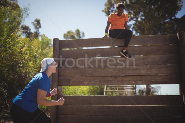 トレーナー 女性 木製 壁 登山 ストックフォト © wavebreak_media