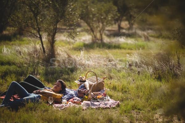 Fiatal pér pihen együtt piknik pokróc olajbogyó farm Stock fotó © wavebreak_media
