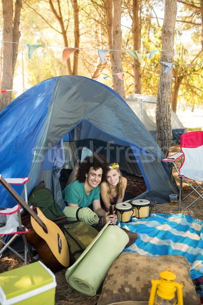 Portrait of smiling couple in tent Stock photo © wavebreak_media