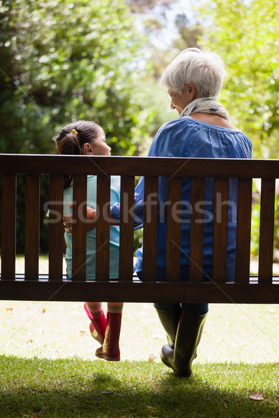 Rear view of grandmother and granddaughter sitting on wooden bench Stock photo © wavebreak_media