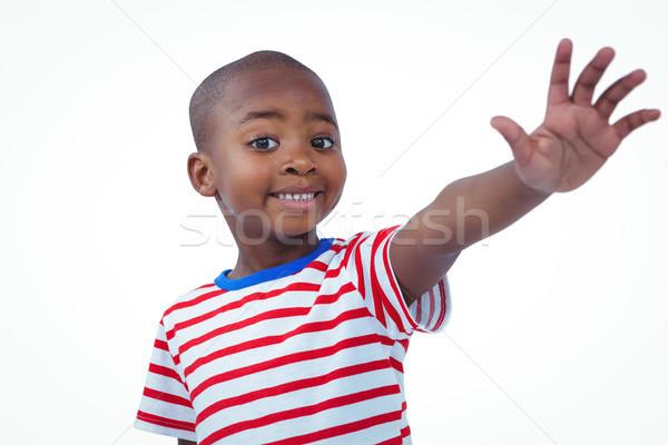 Jongen hand camera witte scherm Stockfoto © wavebreak_media