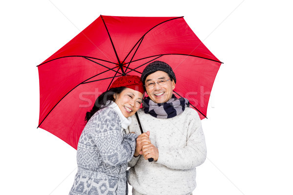Asian couple parapluie blanche femme Photo stock © wavebreak_media