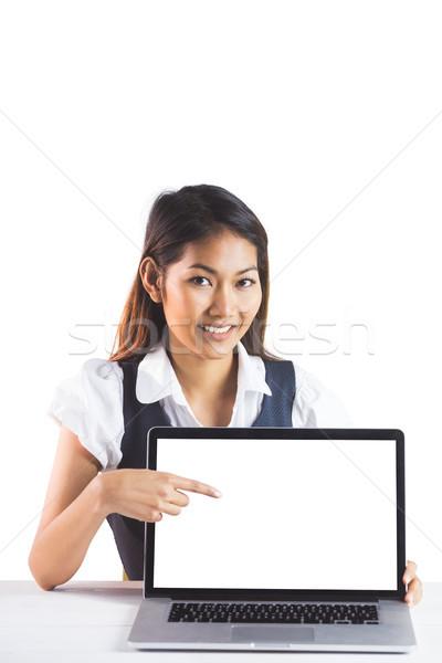 Stok fotoğraf: Gülen · işkadını · işaret · dizüstü · bilgisayar · beyaz · iş