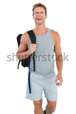 Sportowiec ręcznik około szyi uśmiechnięty biały Zdjęcia stock © wavebreak_media