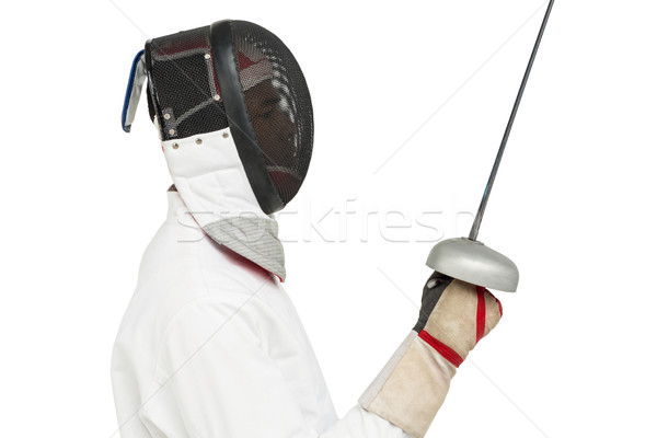 Man wearing fencing suit practicing with sword Stock photo © wavebreak_media