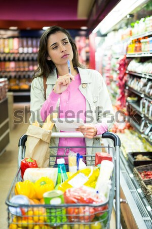 Photo stock: Portrait · femme · légumes · femme · souriante · supermarché