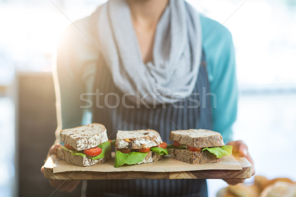 Serveerster dienblad sandwiches business vrouw Stockfoto © wavebreak_media