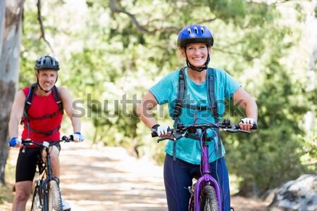 Stock fotó: Női · motoros · áll · hegyi · kerékpár · vidék · nő