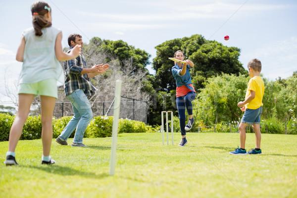 Família jogar críquete parque grama Foto stock © wavebreak_media