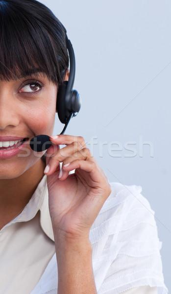 Retrato étnicas mujer de negocios de trabajo centro de llamadas hermosa Foto stock © wavebreak_media