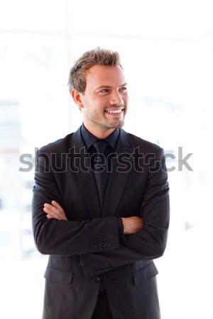 привлекательный бизнесмен рук служба пространстве черный Сток-фото © wavebreak_media