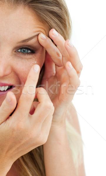 очаровательный женщину контактная линза изолированный белый глаза Сток-фото © wavebreak_media