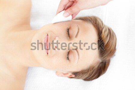 Relaxed woman enjoying a hair massage Stock photo © wavebreak_media
