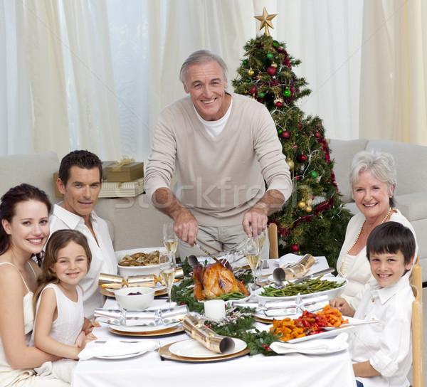 Nagyapa vág Törökország karácsony vacsora család Stock fotó © wavebreak_media