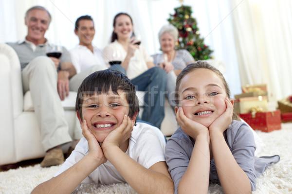 弟 姉妹 階 家族 クリスマス ホーム ストックフォト © wavebreak_media
