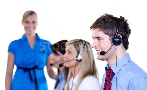 Businesspeople talking with headset Stock photo © wavebreak_media