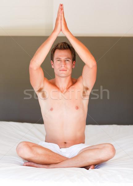 Будду кровать привлекательный молодым человеком спорт Сток-фото © wavebreak_media