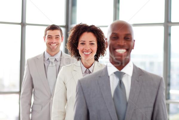 Сток-фото: улыбаясь · деловая · женщина · линия · коллеги · женщину · счастливым