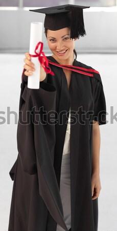 возбужденный девушки диплом улыбаясь улыбка Сток-фото © wavebreak_media