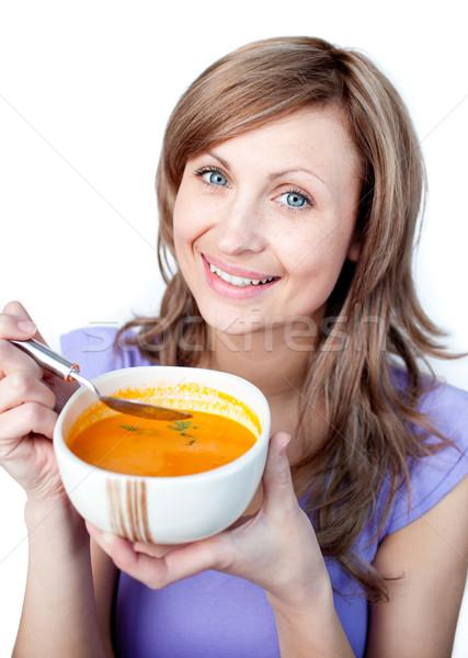 живой женщину суп чаши белый Сток-фото © wavebreak_media
