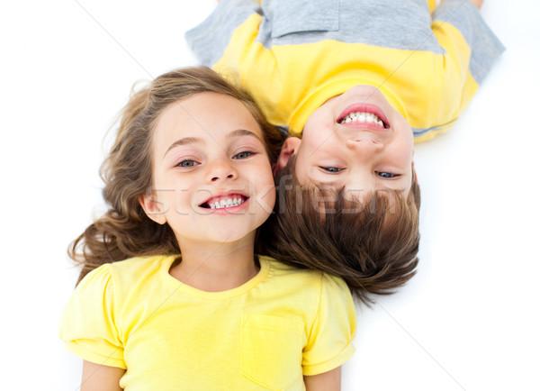 Mosolyog testvérek padló fehér gyerekek nők Stock fotó © wavebreak_media