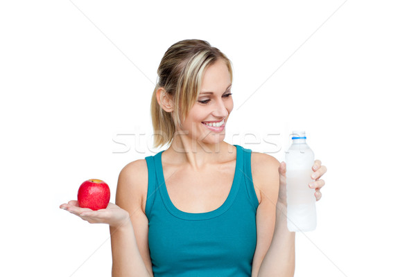 Sonriendo mujer hermosa agua manzana cara Foto stock © wavebreak_media