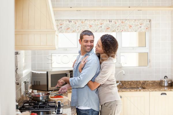 Kobieta mąż gotowania domu miłości Zdjęcia stock © wavebreak_media