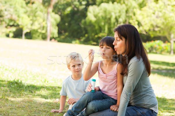 Stock foto: Familie · Park · Hand · Gesicht · glücklich