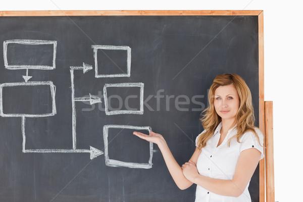 çekici öğretmen bakıyor kamera tahta Stok fotoğraf © wavebreak_media