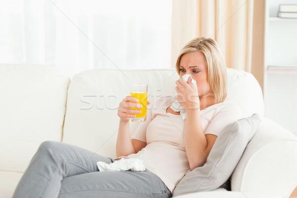 Beteg nő nappali kávé szoba gyógyszer Stock fotó © wavebreak_media