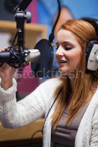 Portre genç radyo evsahibi mikrofon Stok fotoğraf © wavebreak_media