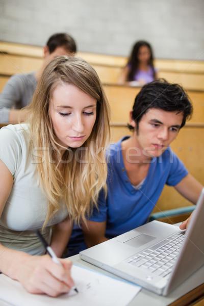 Portret studentów pracy notebooka amfiteatr uśmiech Zdjęcia stock © wavebreak_media