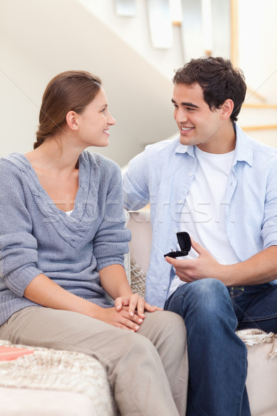 Portrait of a man proposing marriage in their living  Stock photo © wavebreak_media