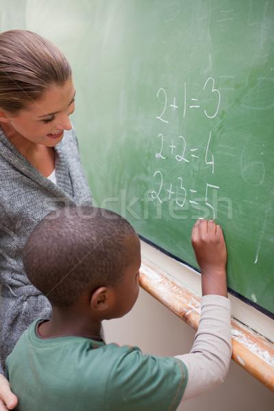 Porträt lächelnd Lehrer Klassenzimmer Hand Stock foto © wavebreak_media