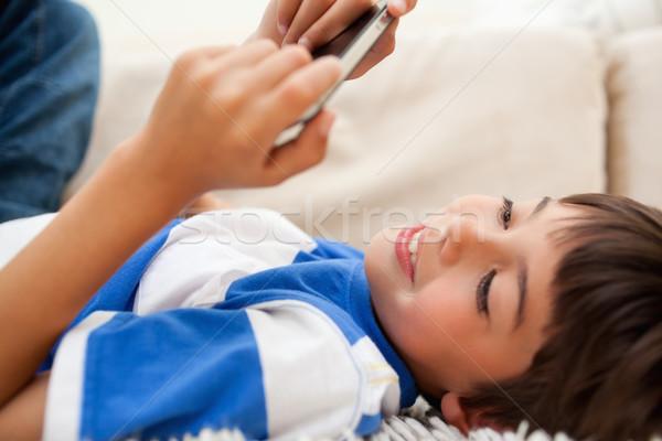 少年 カーペット 演奏 携帯電話 コンピュータ ストックフォト © wavebreak_media