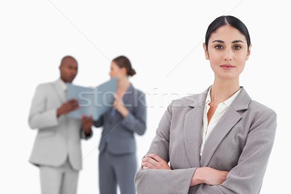 Glimlachend team achter witte zakenman Stockfoto © wavebreak_media