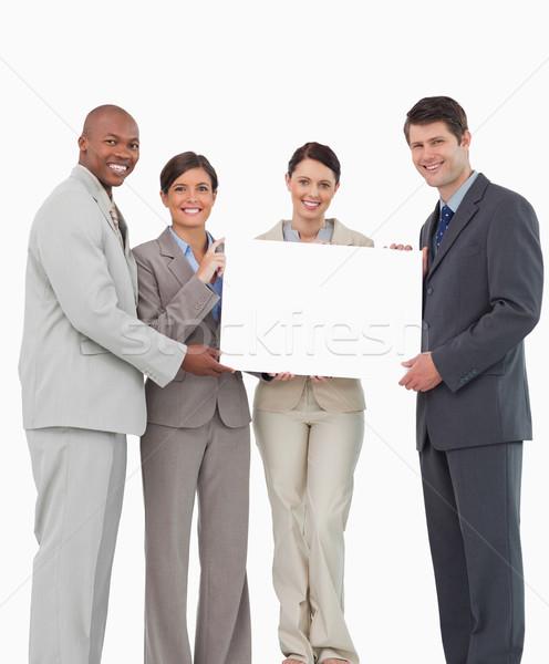 Mosolyog tart üres tábla együtt fehér férfi Stock fotó © wavebreak_media
