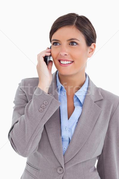 Közelkép női vállalkozó mobiltelefon fehér üzlet Stock fotó © wavebreak_media