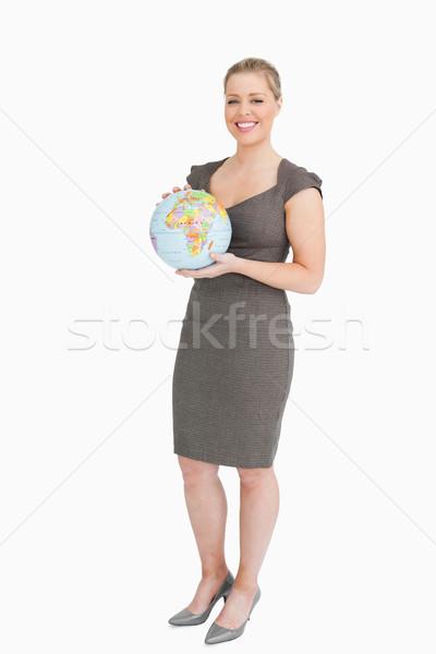 Empresária globo mãos branco feliz Foto stock © wavebreak_media