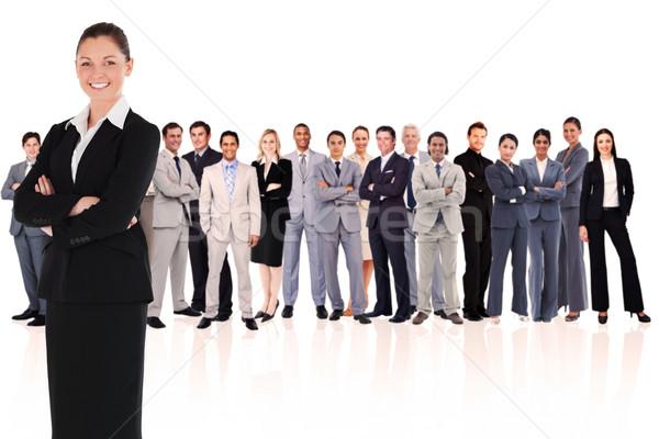 Foto stock: Mujer · sonriente · lado · blanco · hombre · gente · de · negocios · equipo