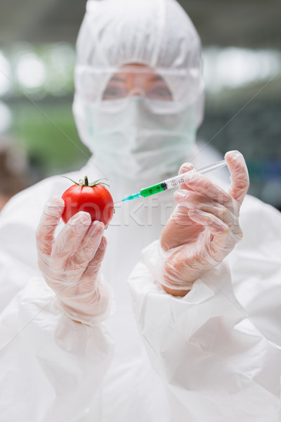 Student standing at the laboratory injecting a tomato wearing a protective suit Stock photo © wavebreak_media