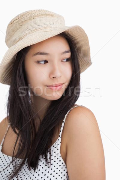 Vrouw strohoed witte schoonheid kleding Stockfoto © wavebreak_media