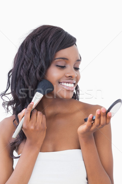 Mulher alegremente cara pó feliz beleza Foto stock © wavebreak_media