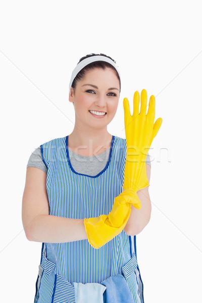 Cleaner donna giallo guanti bianco mano Foto d'archivio © wavebreak_media