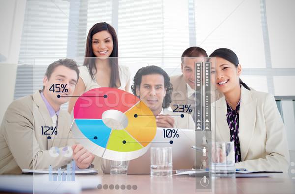 笑みを浮かべて ビジネス 労働 見える カラフル 円グラフ ストックフォト © wavebreak_media