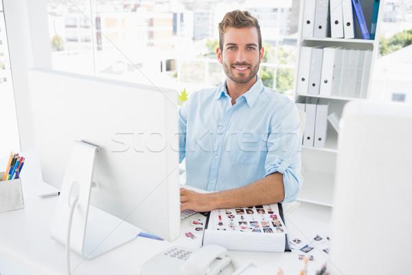 Portret mannelijke foto editor werken computer Stockfoto © wavebreak_media